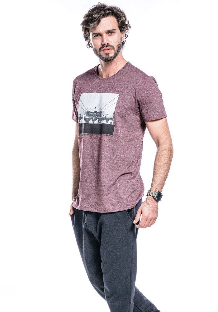 Camiseta Manga Curta Bordo Mescla City