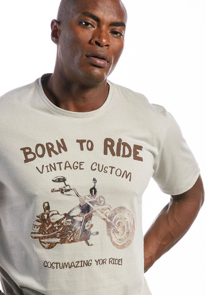 Camiseta Manga Curta Born To Ride Motorcycle Cinza