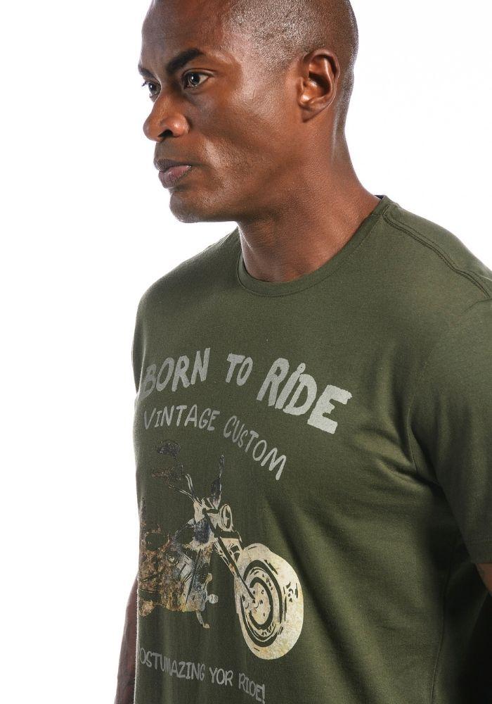 Camiseta Manga Curta Born To Ride Motorcycle Verde