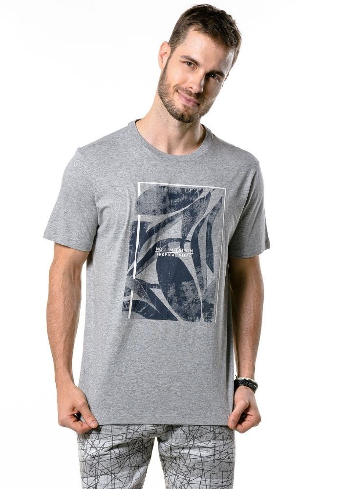 Camiseta Manga Curta Botanic Cinza Mescla