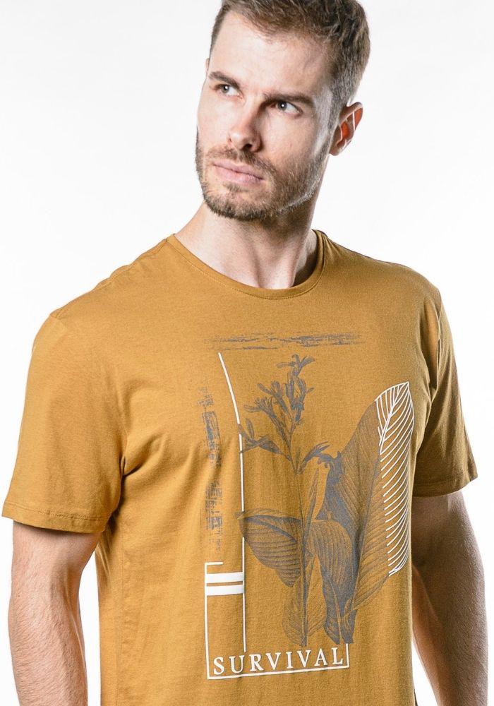 Camiseta Manga Curta Botanic Survival Ocre