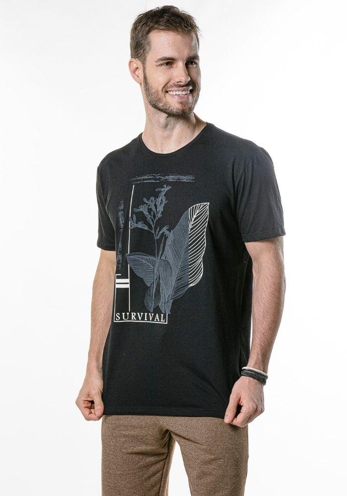 Camiseta Manga Curta Botanic Survival Preta