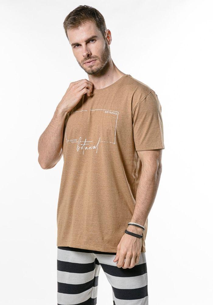 Camiseta Manga Curta Botanical Ocre Mescla