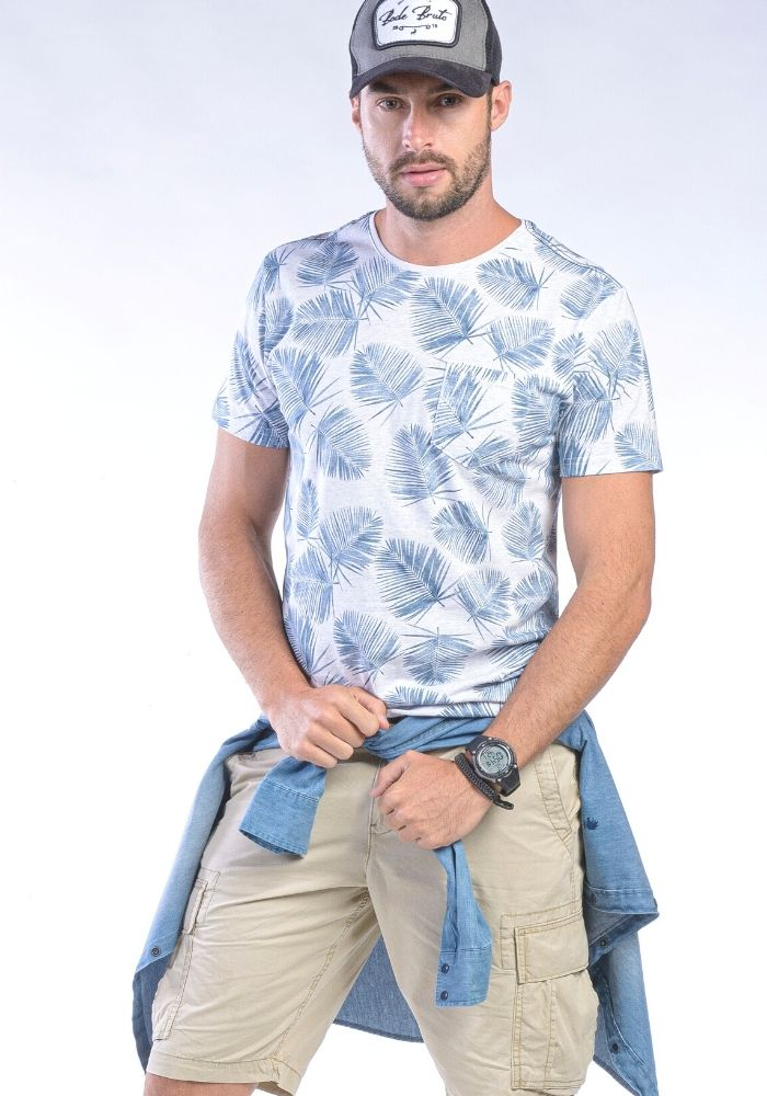 Camiseta Manga Curta Branco Floral Blue