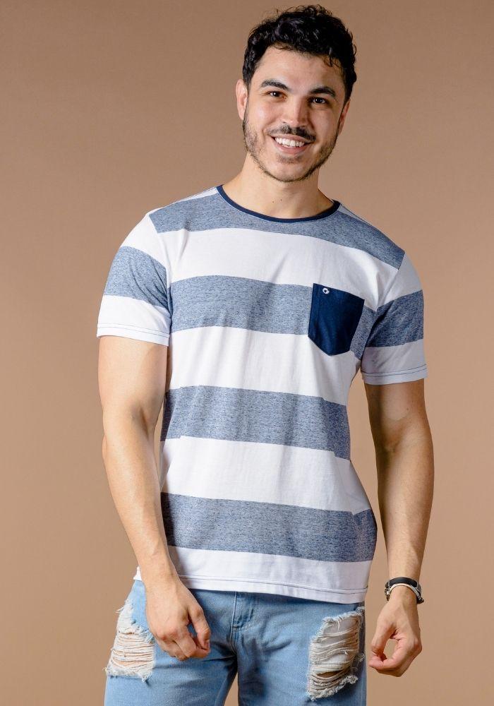 Camiseta Manga Curta Branco Listrada Blue Navy