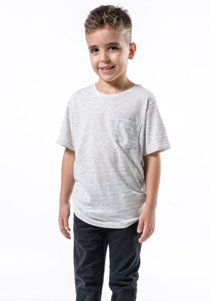 Camiseta Manga Curta C/ Bolso Basic Kids Branco Mescla