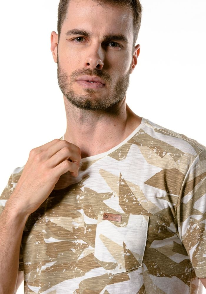 Camiseta Manga Curta Camuflada Bege