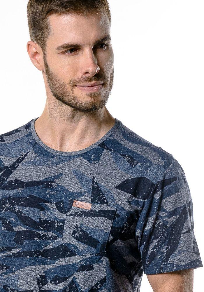 Camiseta Manga Curta Camuflada Marinho Mescla