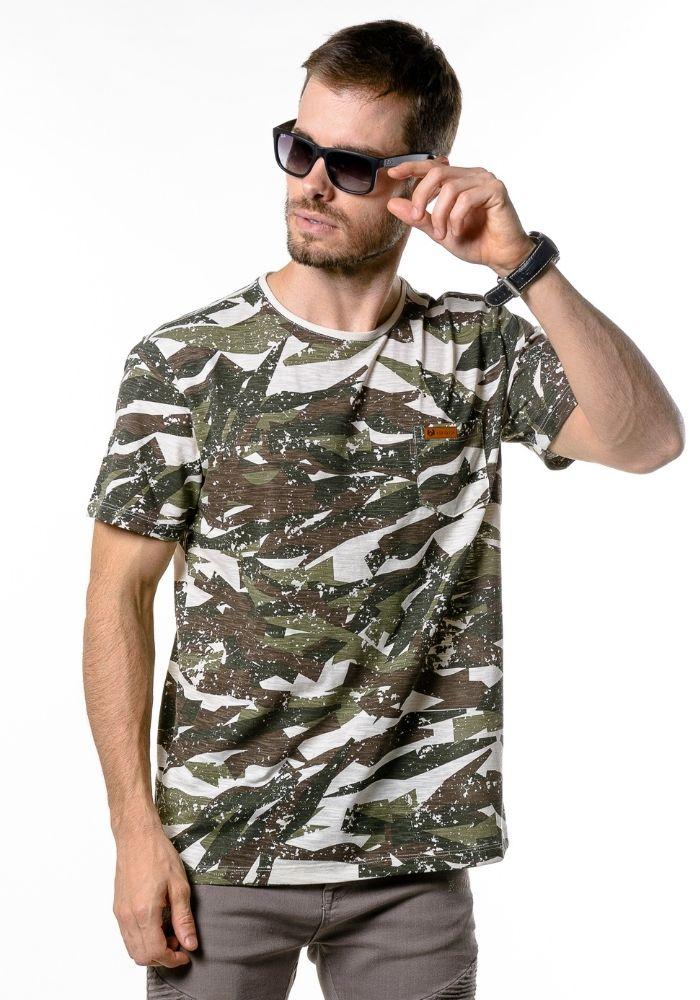 Camiseta Manga Curta Camuflada Verde Militar