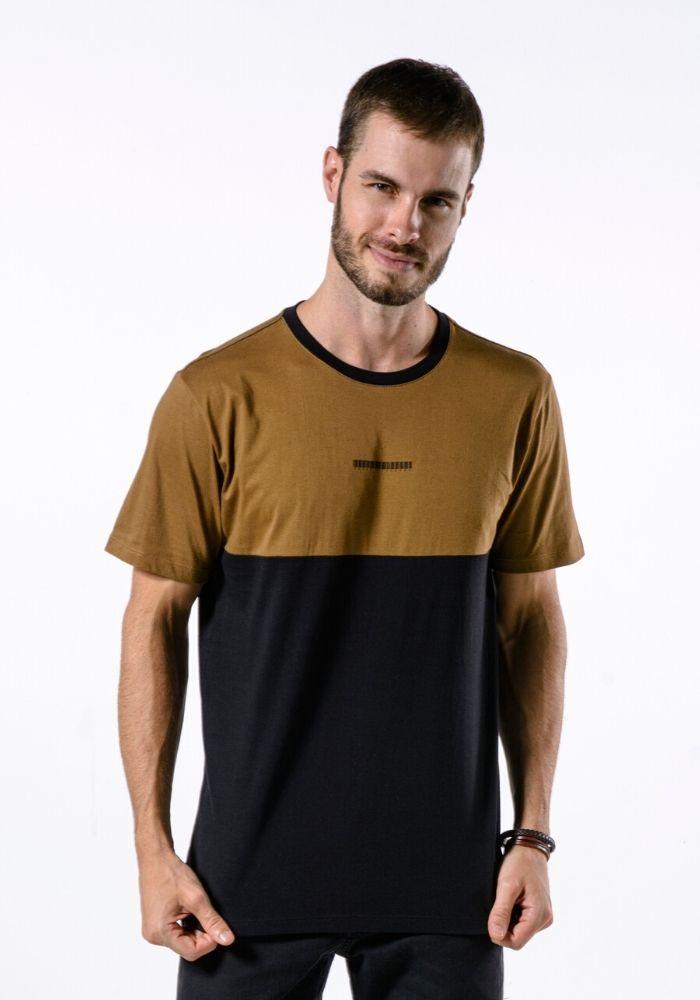 Camiseta Manga Curta Cia Gota Código de Barras Ocre