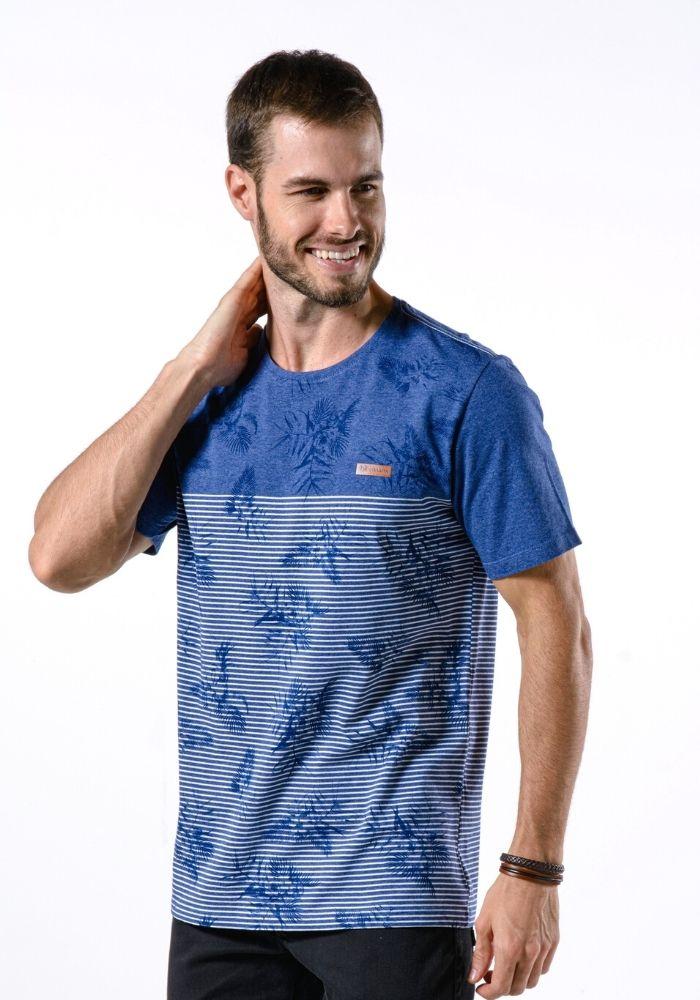 Camiseta Manga Curta Cia Gota Roses Azul