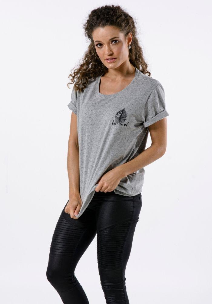 Camiseta Manga Curta Cinza Mescla Be Cool