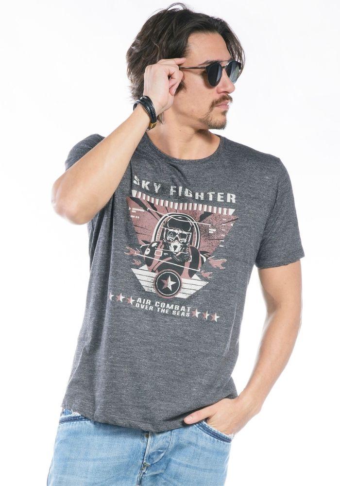 Camiseta Manga Curta cinza Sky Fighter