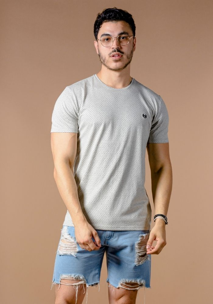 Camiseta Manga Curta Classic Jacquard Cinza Claro