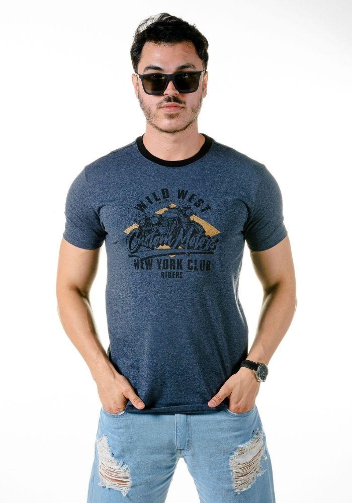 Camiseta Manga Curta Custom Motors Marinho Mescla