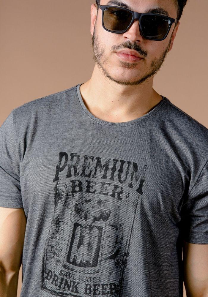 Camiseta Manga Curta Drink Beer Mescla