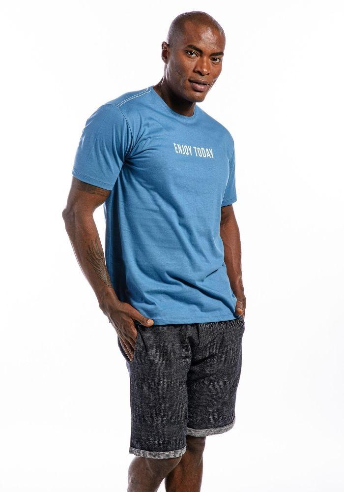 Camiseta Manga Curta Enjoy Today Color Azul