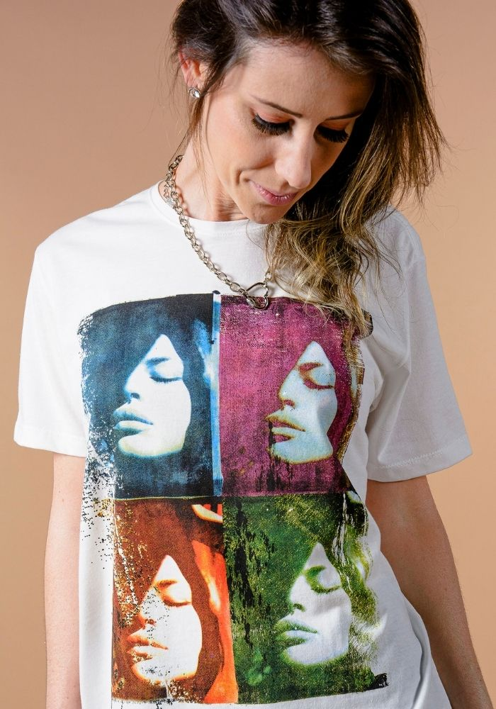 Camiseta Manga Curta Feminina Arts Faces Branca
