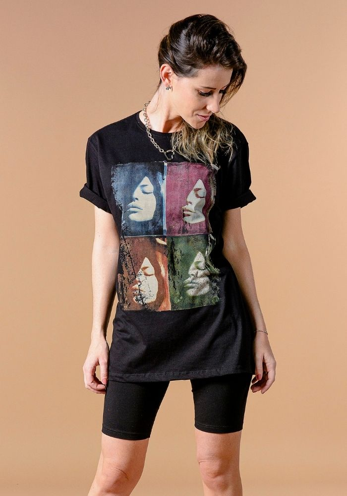 Camiseta Manga Curta Feminina Arts Faces Preto