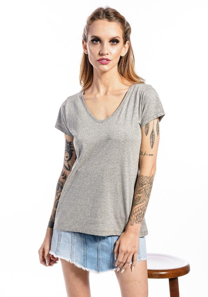 Camiseta Manga Curta Feminina Mescla Basic