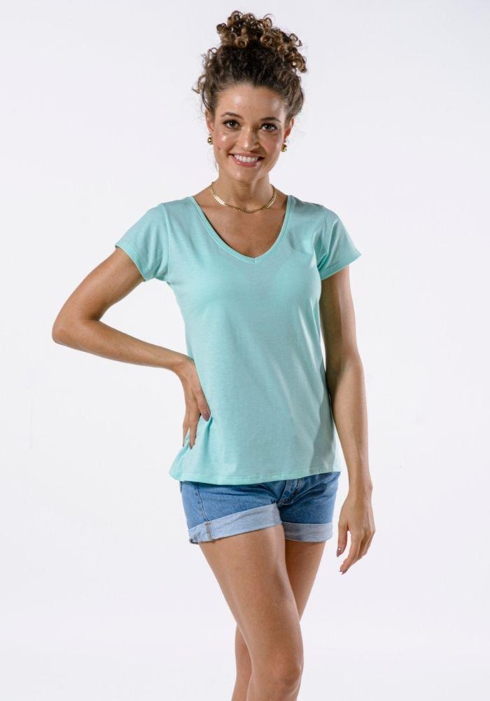 Camiseta Manga Curta Feminina Verde Claro Basic