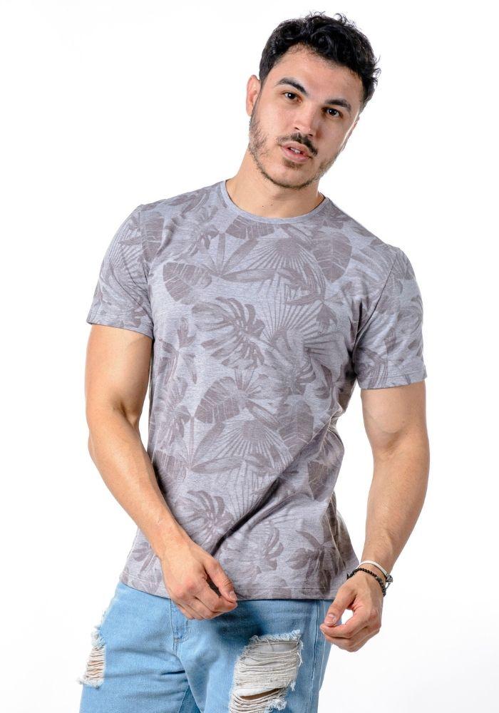 Camiseta Manga Curta Full Foliage Cinza Mescla