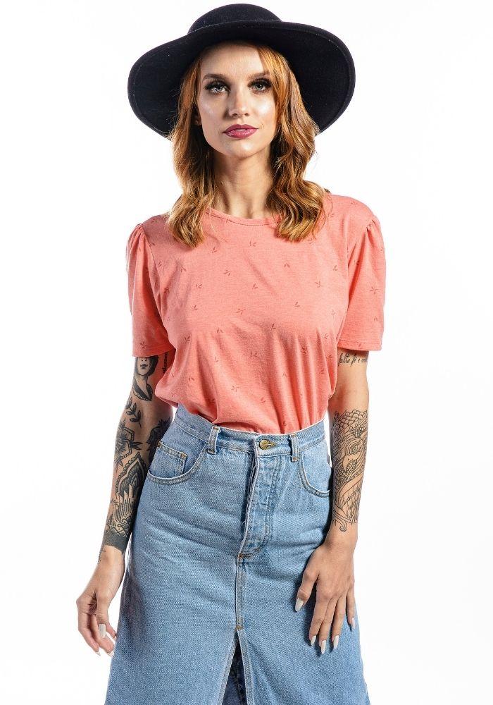 Camiseta Manga Curta Full Garden Feminina Coral