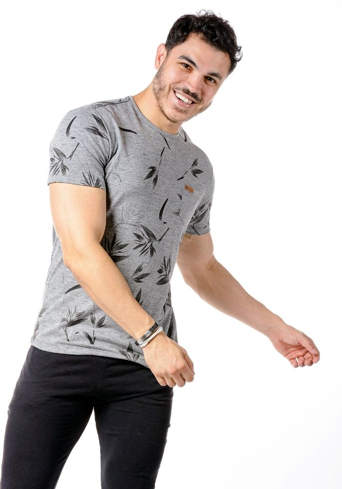 Camiseta Manga Curta Full Garden Mescla Chumbo