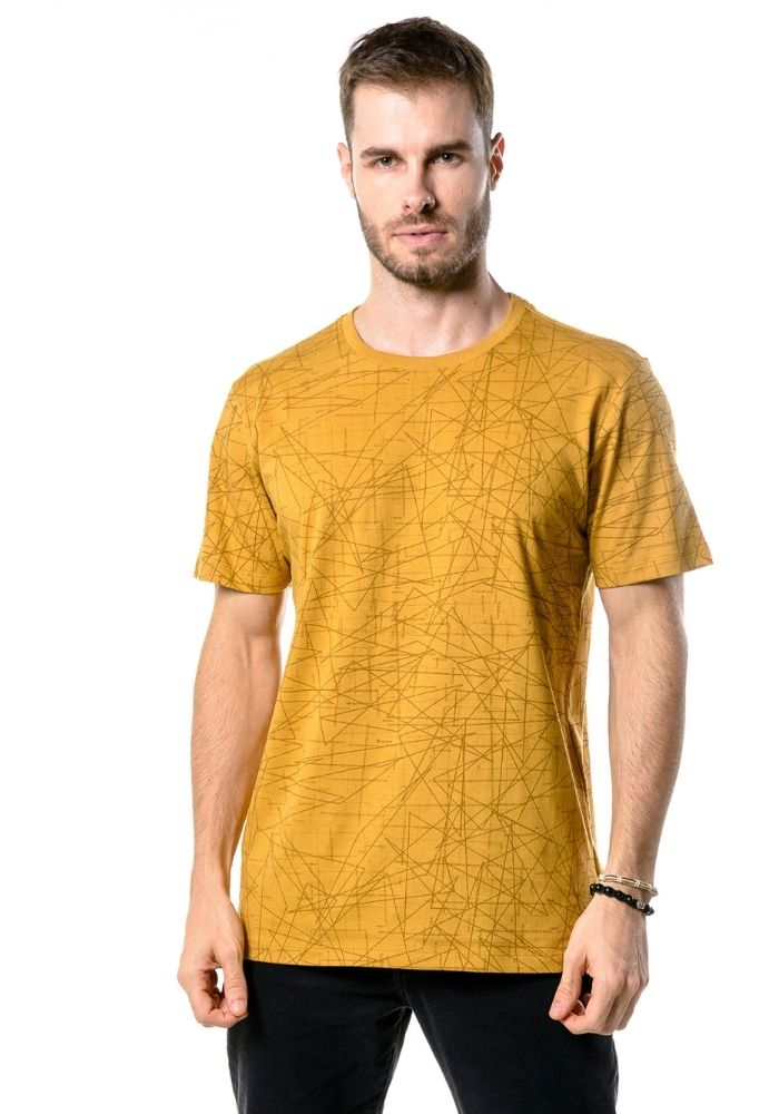 Camiseta Manga Curta Full Geometric Mostarda
