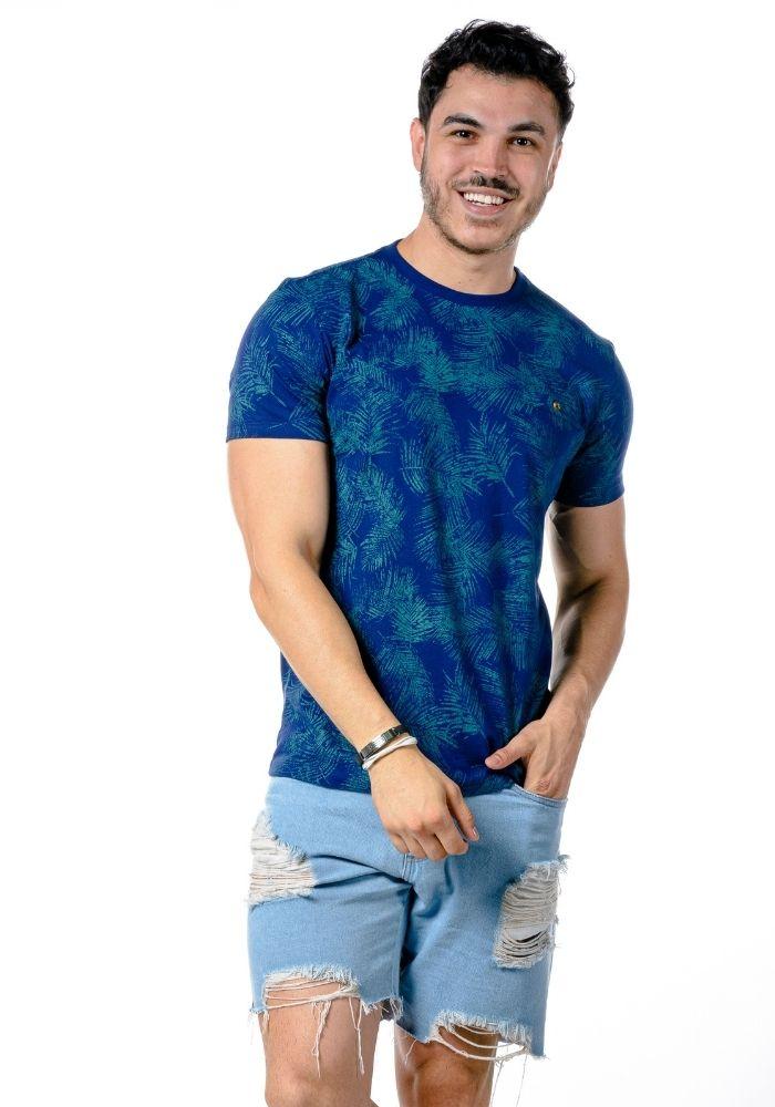 Camiseta Manga Curta Full Leaf Azul