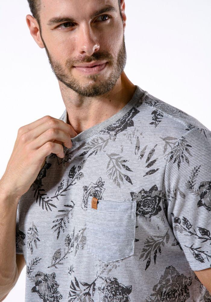 Camiseta Manga Curta Full Roses Mescla Cinza