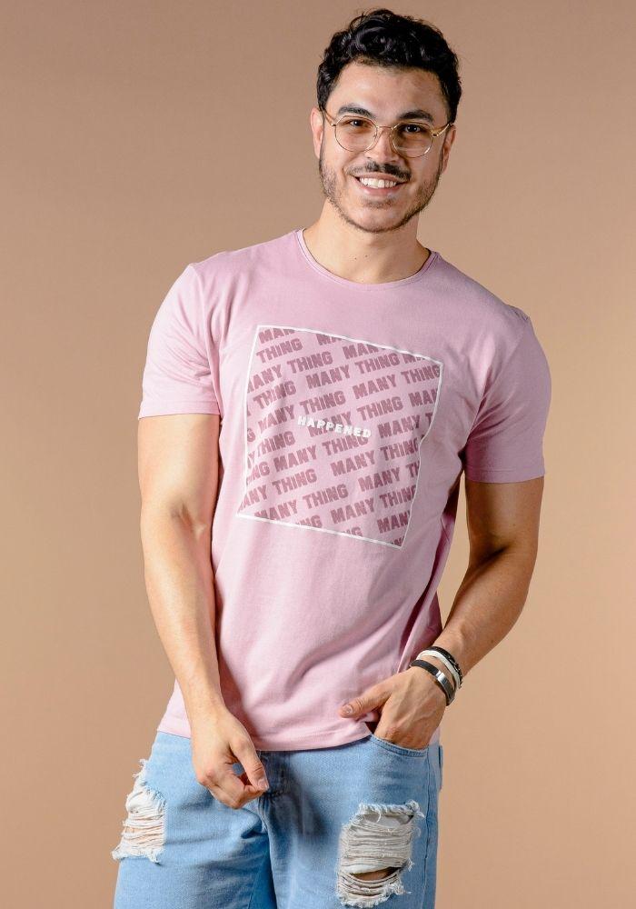 Camiseta Manga Curta Happened Rosa Antigo