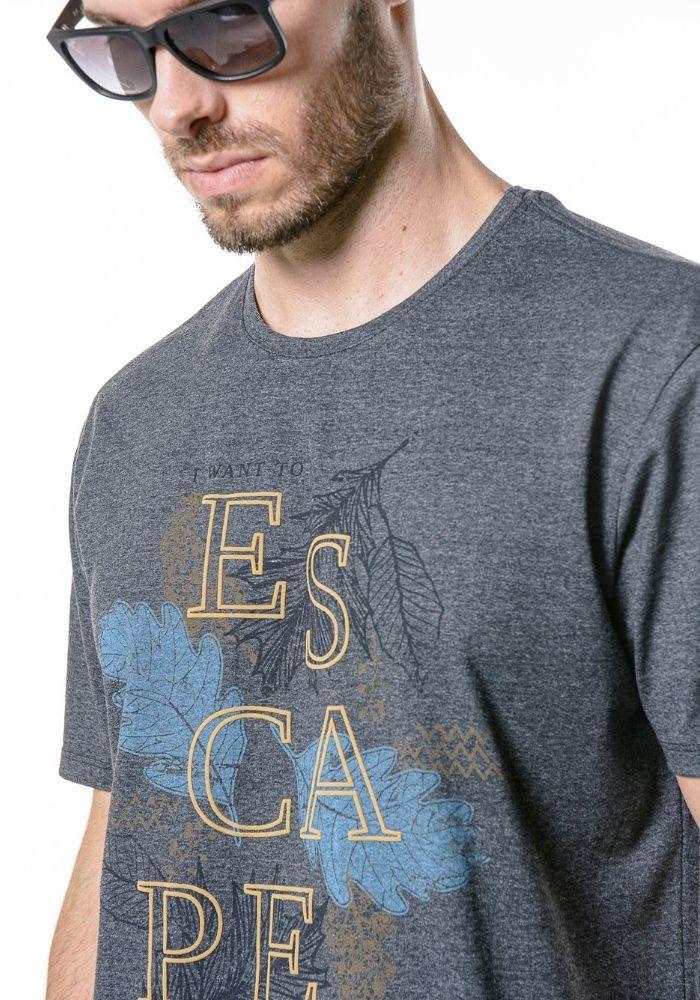 Camiseta Manga Curta I Want To Escape Preto Mescla