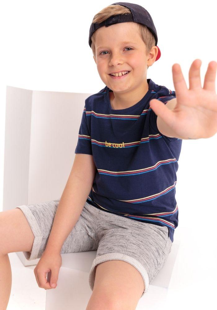 Camiseta Manga Curta Infantil Listrada Be Cool Marinho