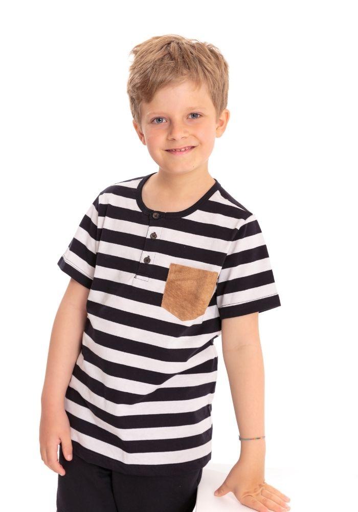 Camiseta Manga Curta Infantil Listrada Classic Preta