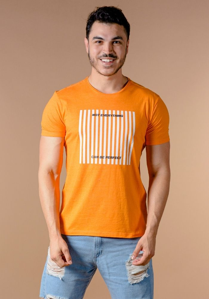 Camiseta Manga Curta Laranja Neon Not Everything