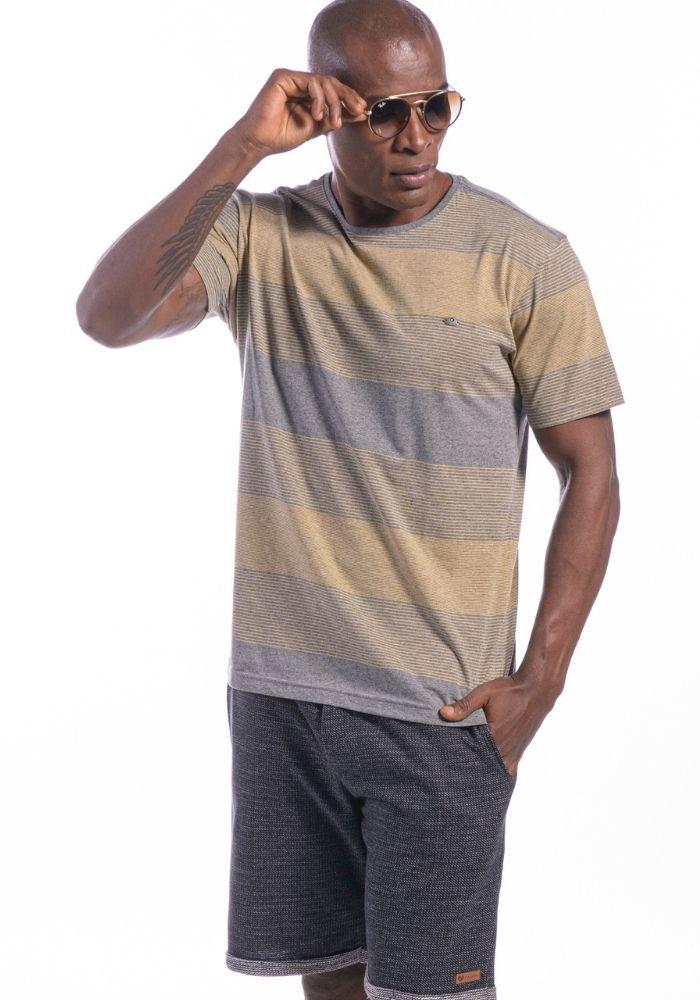 Camiseta Manga Curta Listrada Amarela