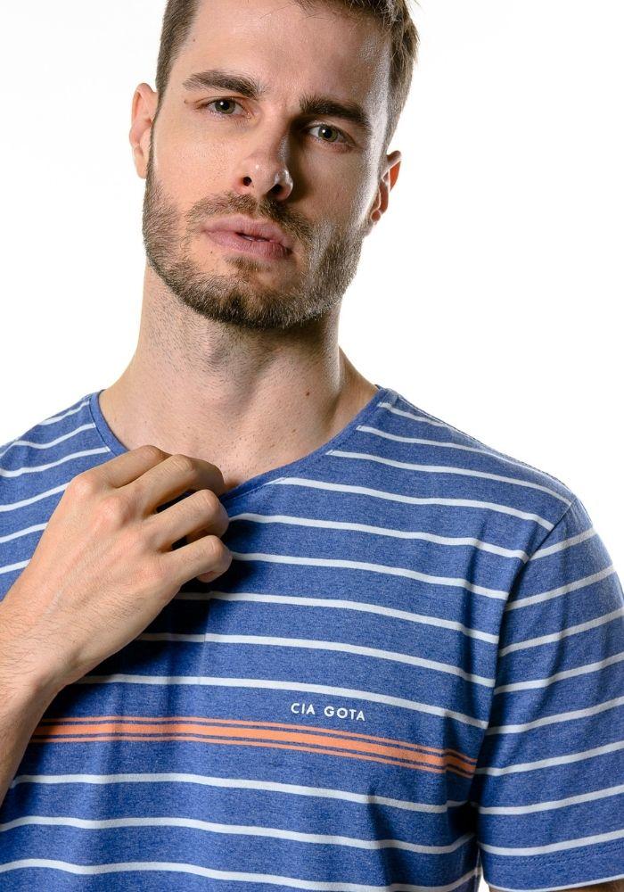 Camiseta Manga Curta Listrada Blue Classic Cia Gota