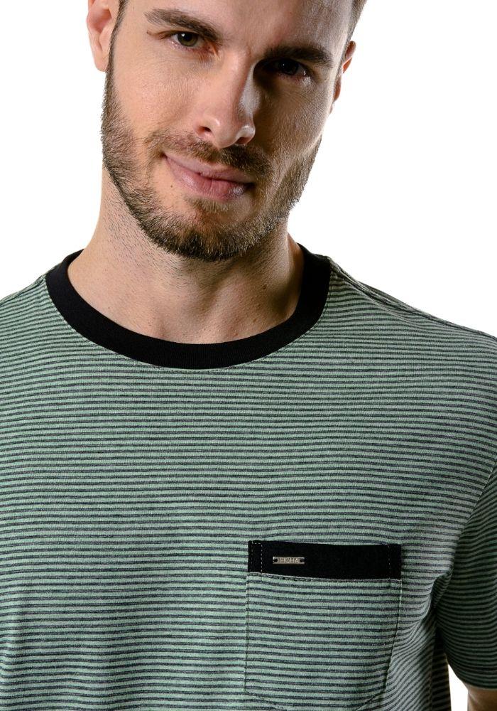 Camiseta Manga Curta Listrada Colored Verde