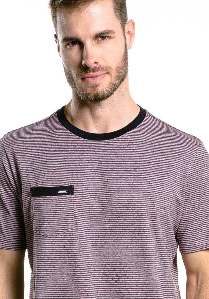 Camiseta Manga Curta Listrada Colored Vinho