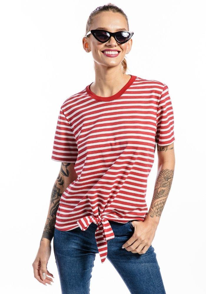 Camiseta Manga Curta Listrada Feminina Nozinho Vermelha