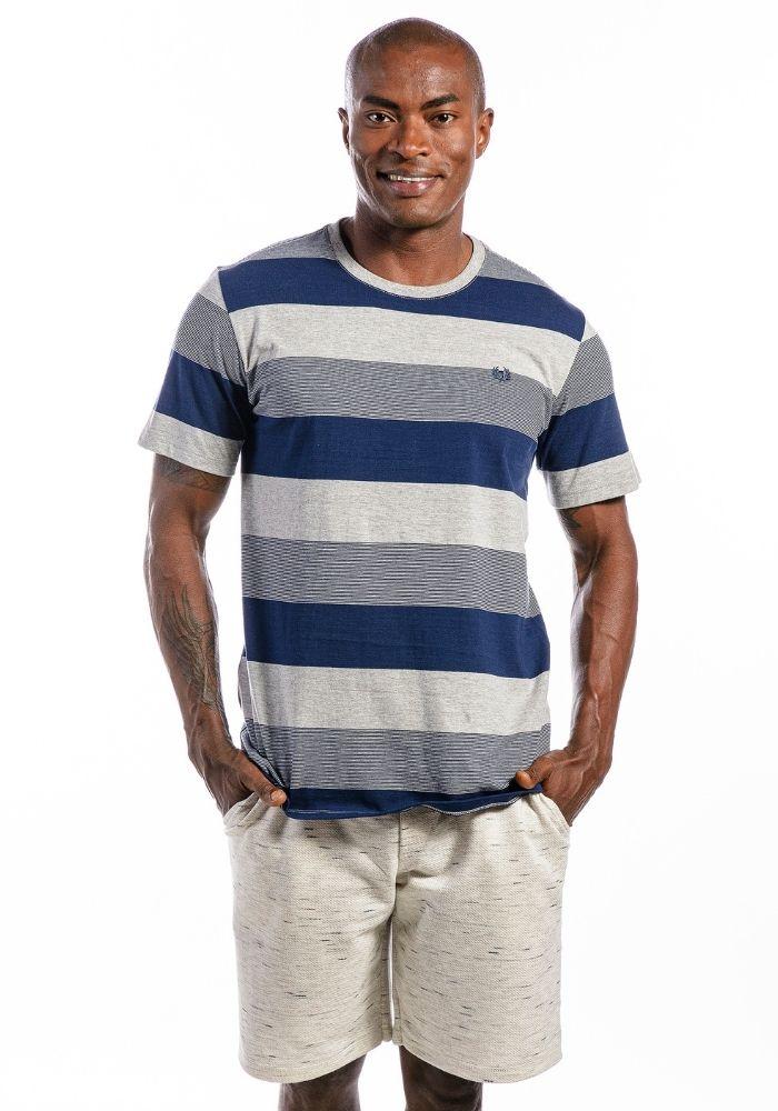 Camiseta Manga Curta Listrada Logo Cinza Mescla