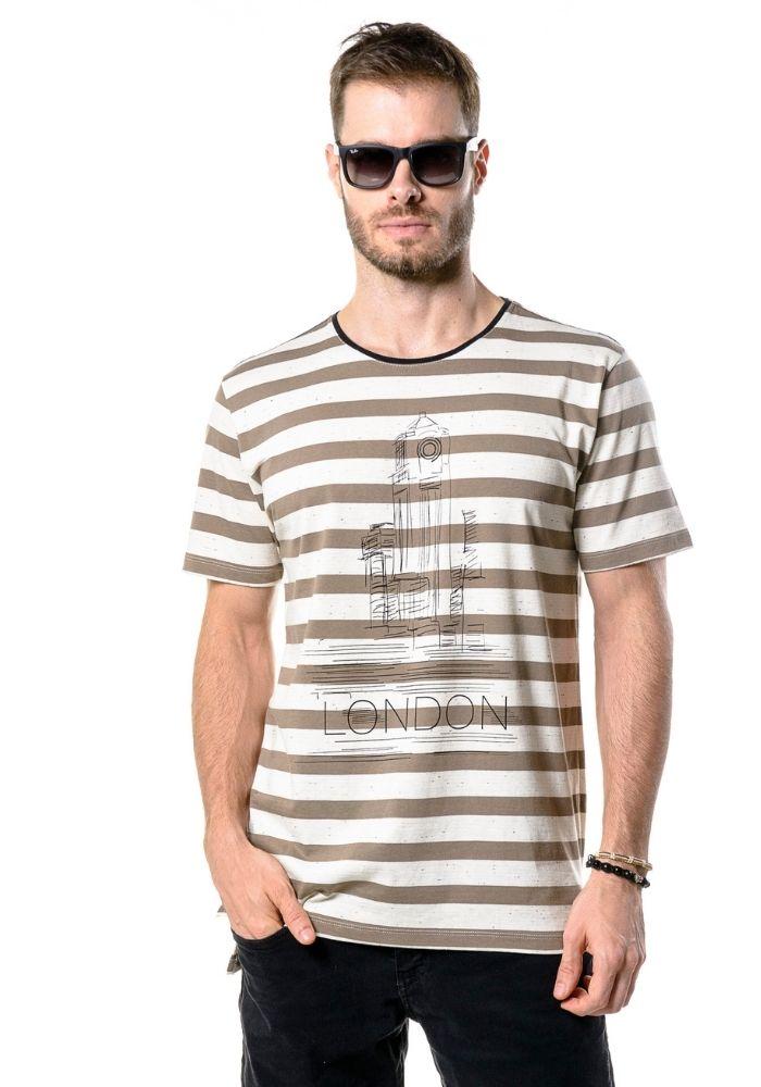 Camiseta Manga Curta Listrada London Marrom