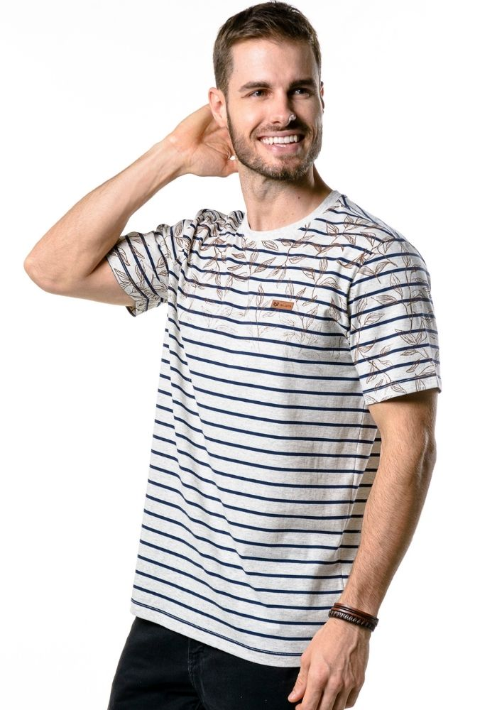 Camiseta Manga Curta Listrada Modern Leaves Mescla