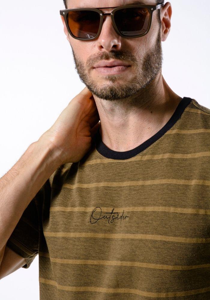 Camiseta Manga Curta Listrada Ocre