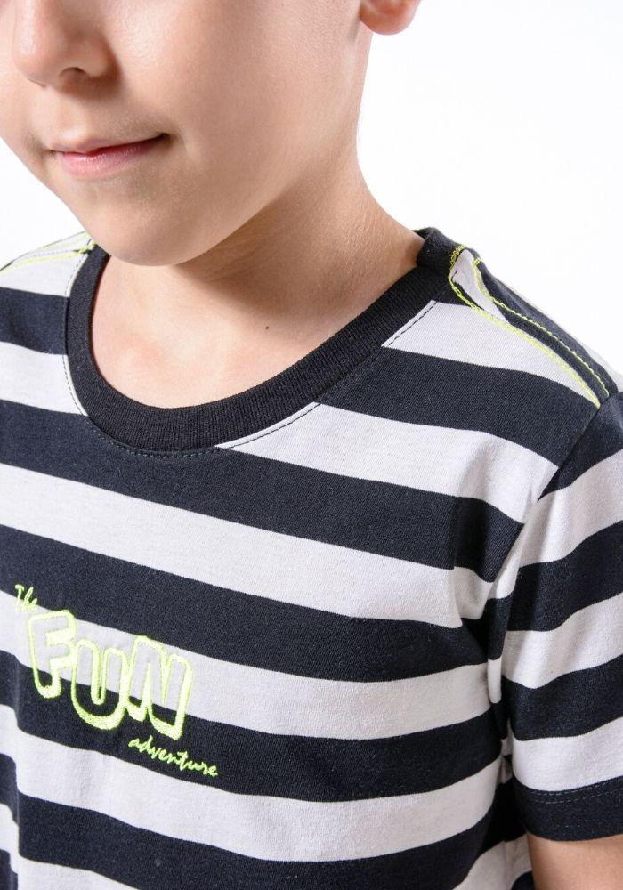 Camiseta Manga Curta Listrada P&B Fun Preto