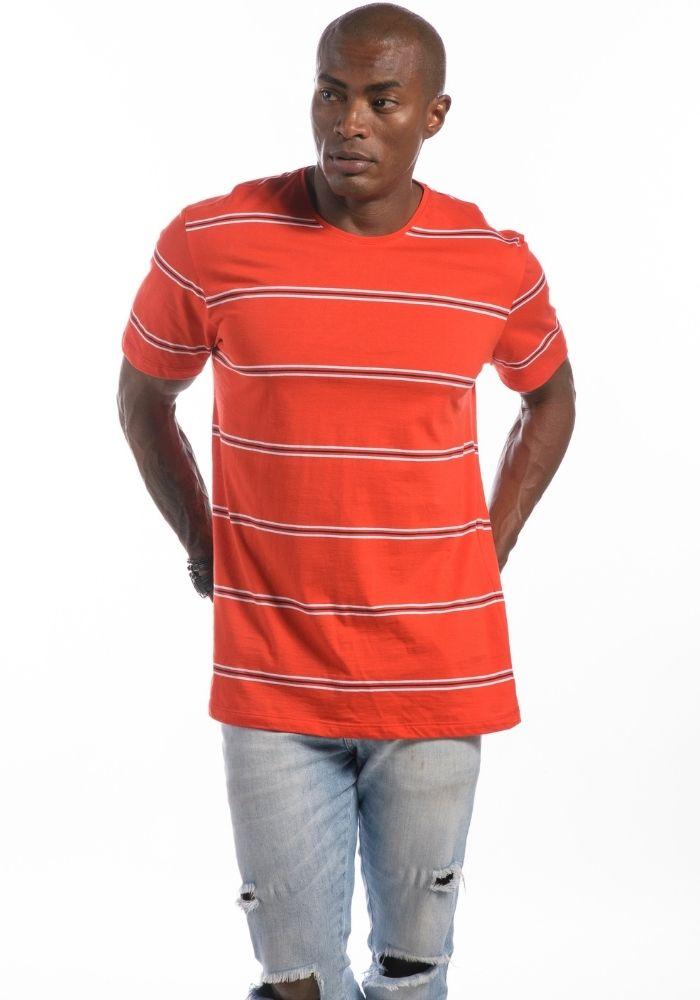 Camiseta Manga Curta Listrada Vermelha Original