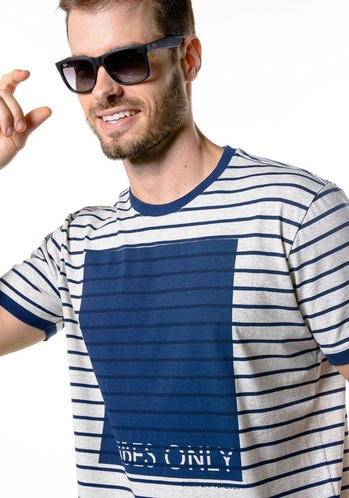 Camiseta Manga Curta Listrada Vibes Only Mescla Banana