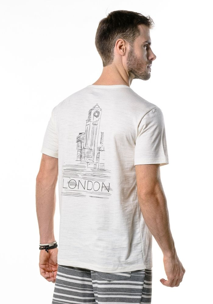 Camiseta Manga Curta Logo London Amêndoa