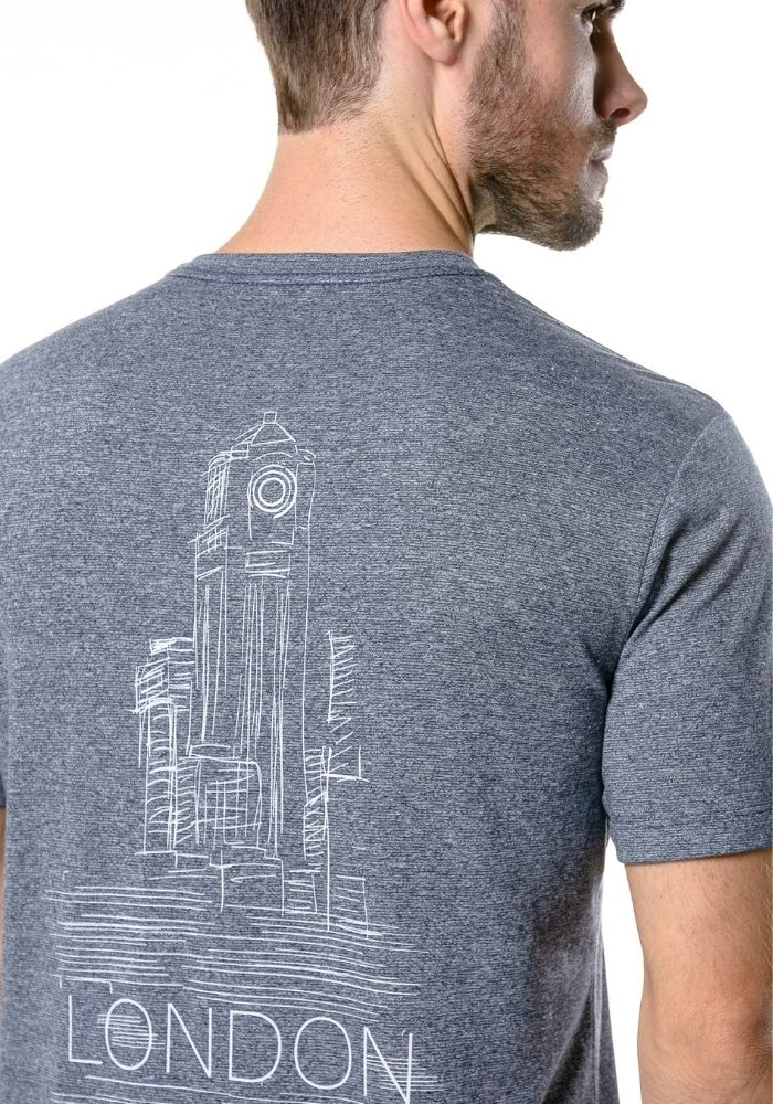 Camiseta Manga Curta Logo London Marinho Mescla